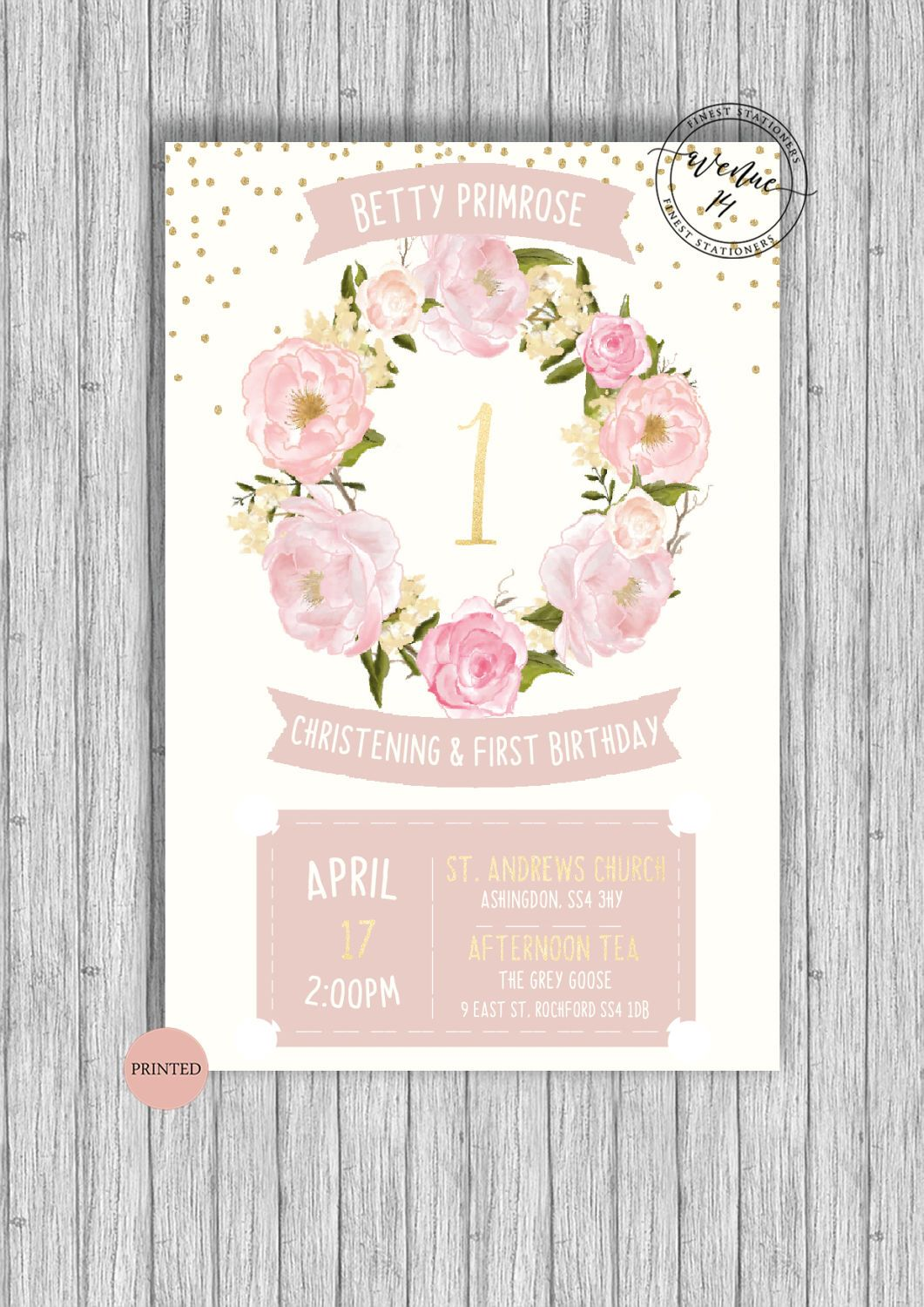 Christening and/or Birthday Invitation A5 Printed | Birthdays ...