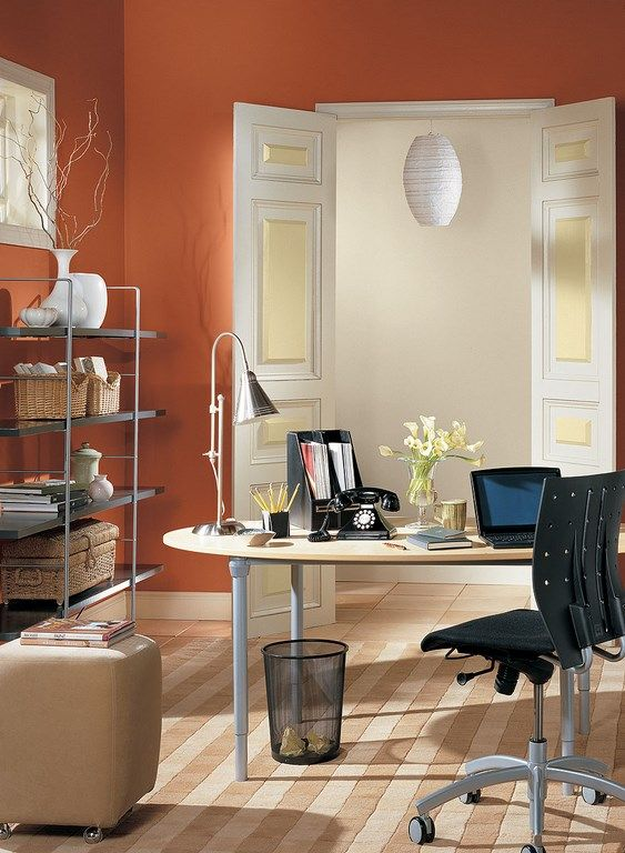 Burnt Orange Home Office With Images