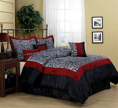 New 7 Pc Queen Zebra Red Black Bedding Satin Comforter Set