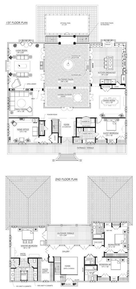 U Shaped House Just Needs Some Tweaking And Pool Insert Courtyard House Plans French House Plans Farmhouse Floor Plans