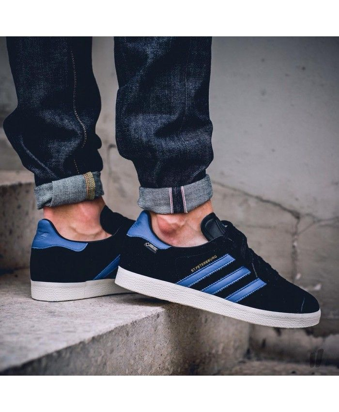 lowest price 62806 a9bfb Mens Adidas Gazelle City Pack Black Navy Blue Trainer