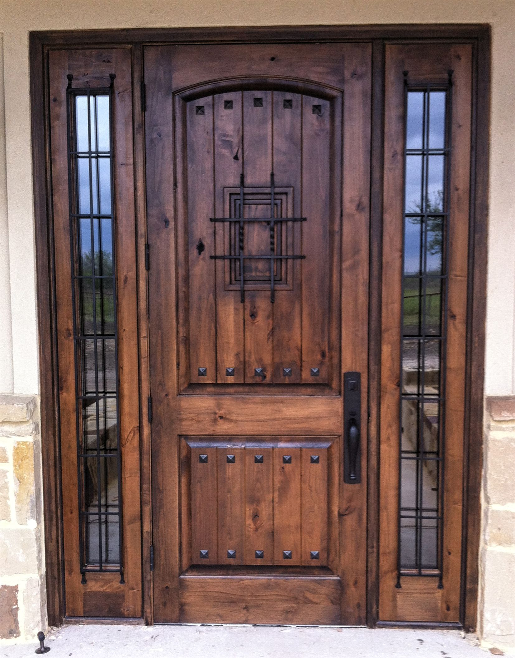 Rustic Wood Door 2 Panel Vgroove Madrid Speakeasy With Clavos And Sidelites