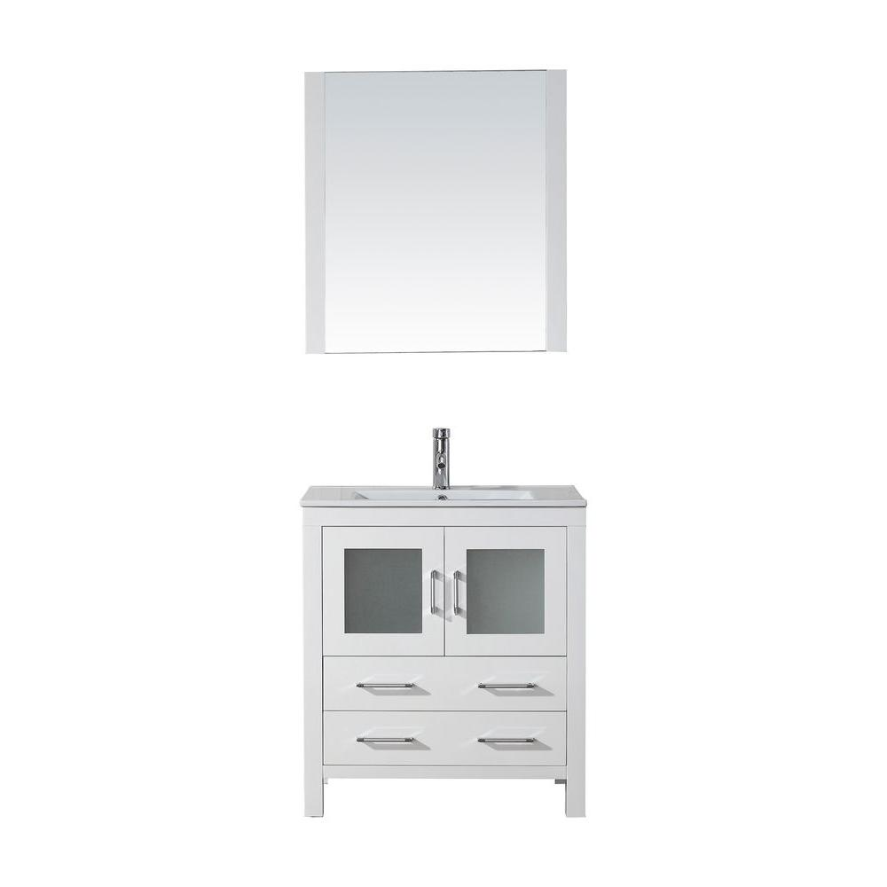 Virtu Usa Dior 30 Inw X 183 Ind Vanity In White With Ceramic Prepossessing 30 Bathroom Vanity With Top Inspiration