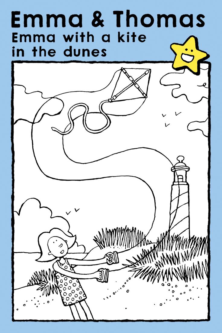 with a kite in the dunes kleurplaten vlieger kinderen