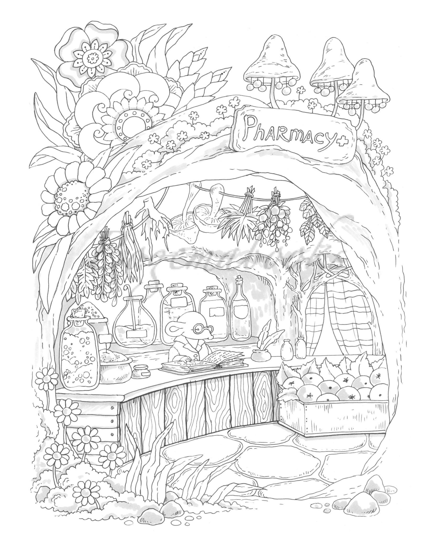 Nice Little Town 7 Adult Coloring Book Coloring Pages Pdf