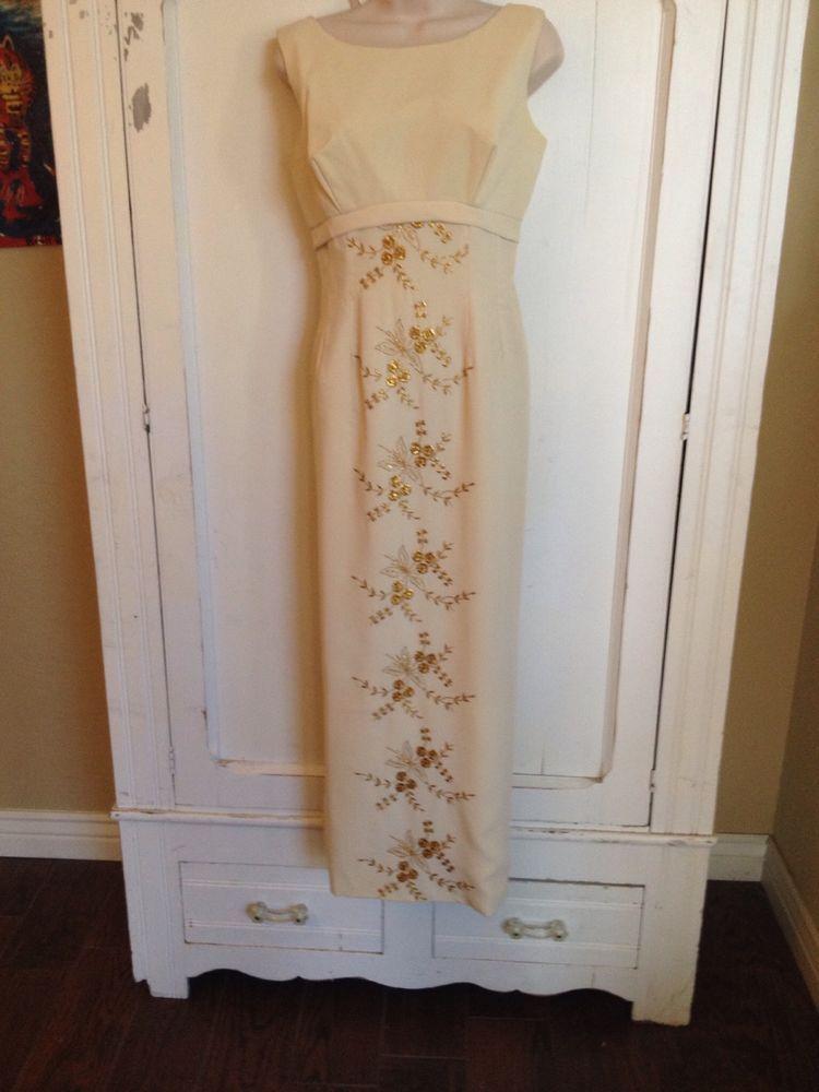 True VINTAGE 1960's White Gold DRESS LONG FORMAL EMPIRE WAIST SLEEVELESS Wedding #HomeMade #EmpireWaist #Formal
