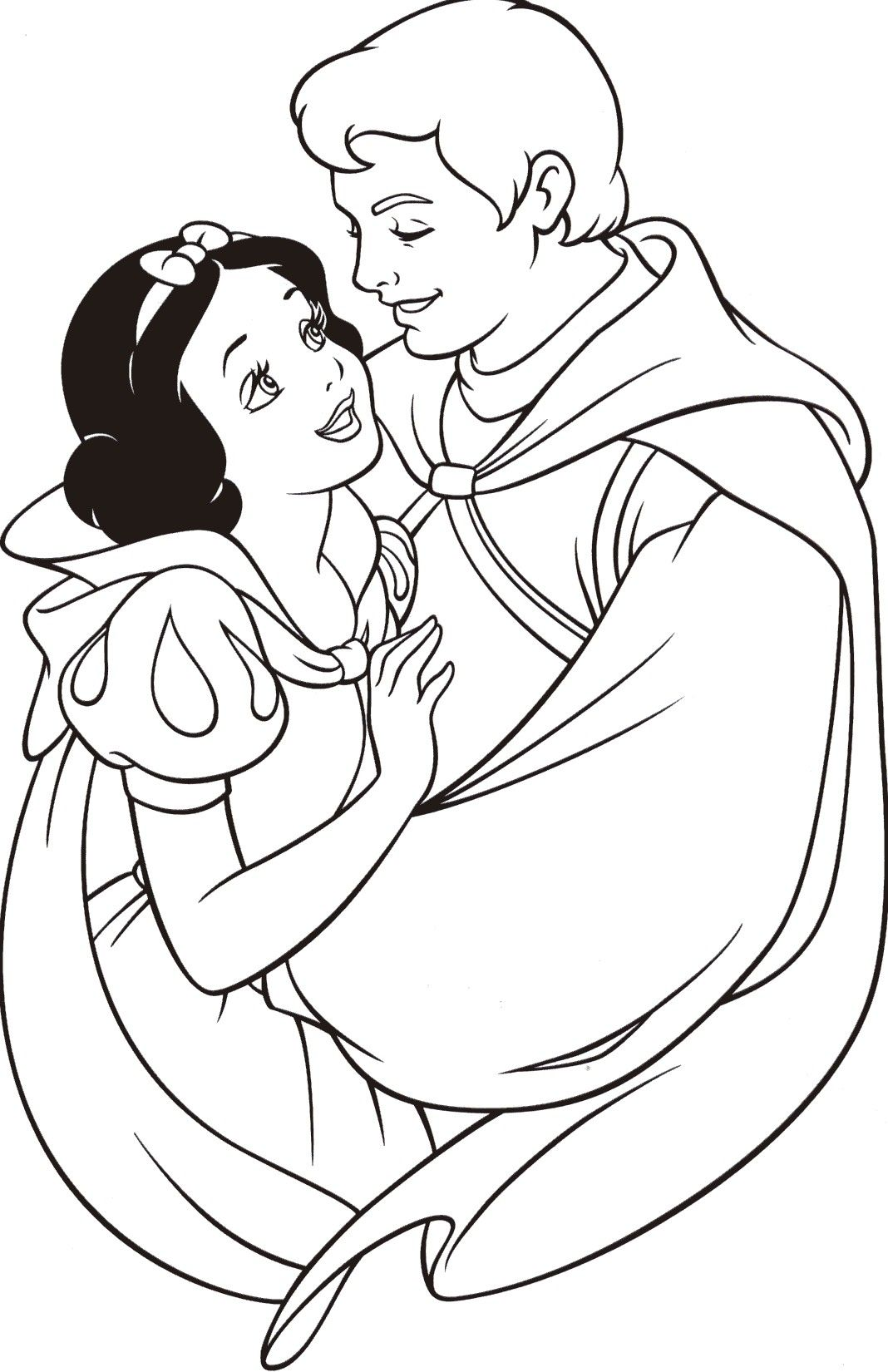 snow prince charming snow white coloring pagesdisney