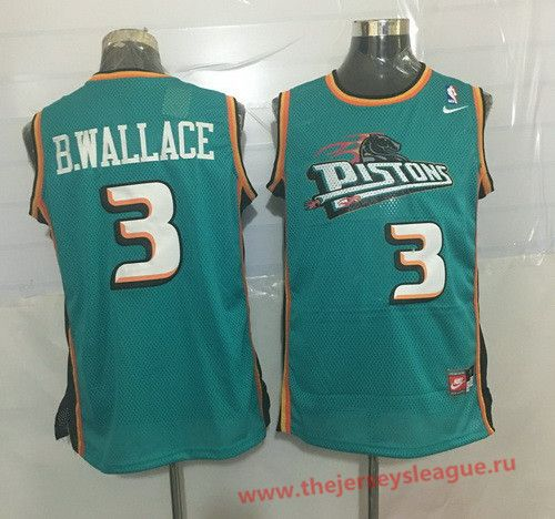 f24037316 Detroit Pistons  3 Ben Wallace Teal Green Hardwood Classics Soul Swingman  Throwback Jersey