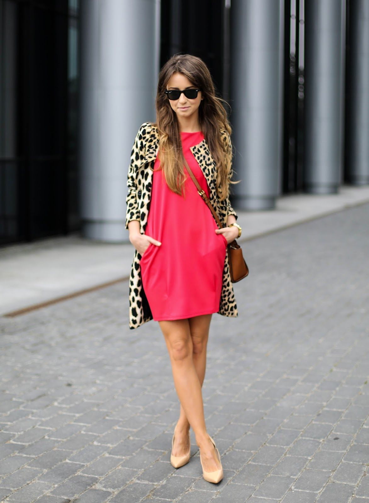 12258ae96aaa1 RED DRESS with leopard jacket | Cute Style in 2019 | Leopard ...
