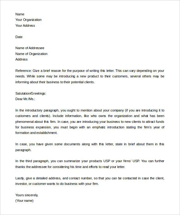 letter introduction templates free sample example format business