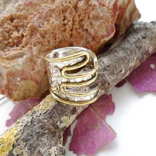 Ring, teilvergoldet, gehämmert, Ø 17,5 mm, 925 Sterling Silber in Uhren & Schmuck, Echtschmuck, Ringe | eBay!