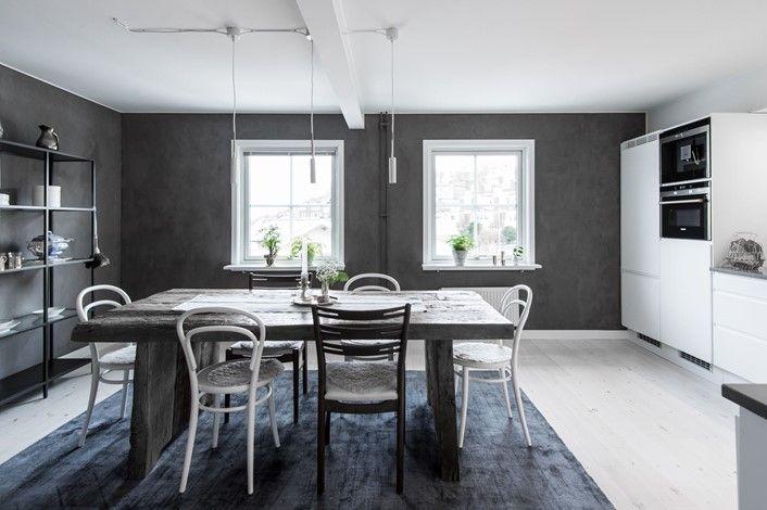 Splitter nya Snyggt med mörka väggar i ljusa rum. Betongfärg? | Inredning | För JH-51