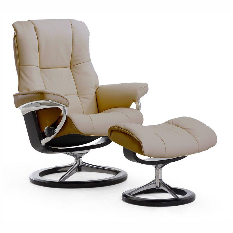 Stressless Mayfair Medium Rocker Recliner Chair Ottoman Signature Base Stressless Chair Lounge Chairs Living Room Recliner With Ottoman