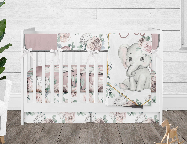 QUICK SHIP Elephant crib sheet Pink elephant baby bedding Girl crib bedding Animal sheet Elephant flower bedding Boppy cover