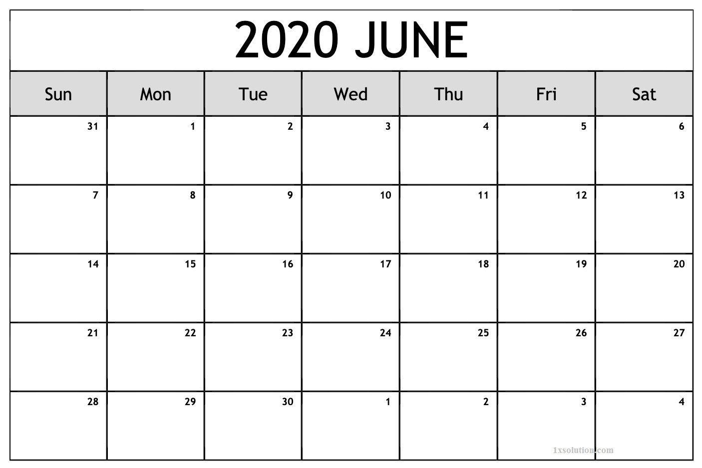 Pin On June 2020 Calendar