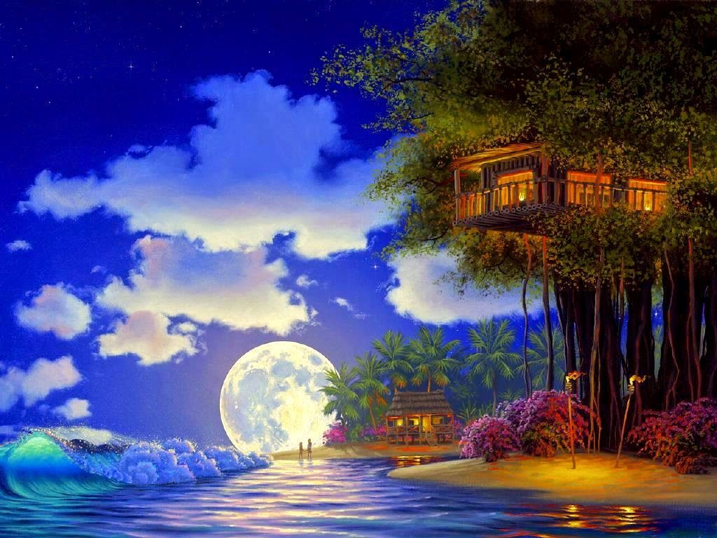 3d children in treehouse romantic tree house image card for