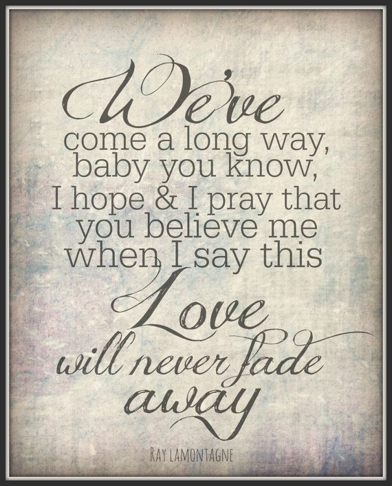 Ray Lamontagne 8x10 Lyric Art Print Song Quote Wall Decor Typography Wedding