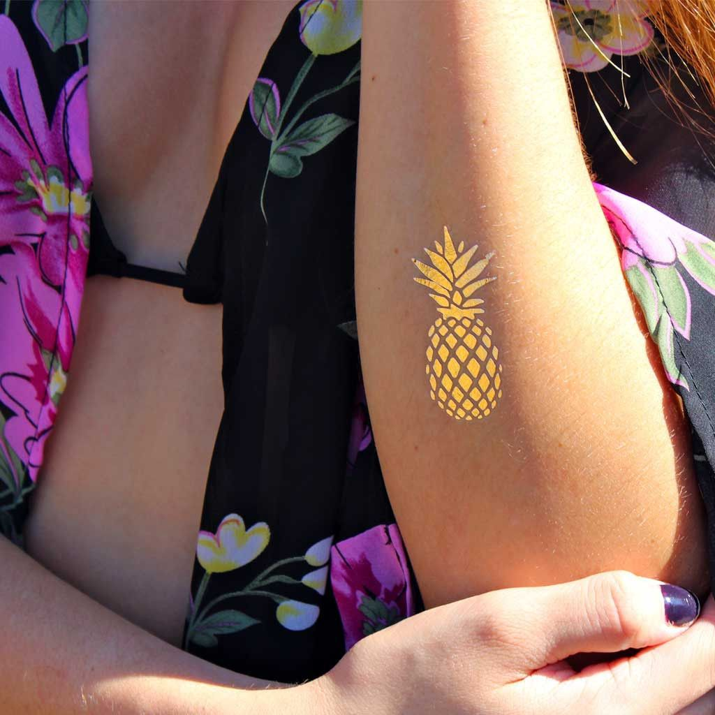 """This gold pineapple is great for any trip to the beach. The pineapple is a symbol of friendship, warmth and welcome that's been a part of Southern hospitality for centuries. Sheet Size: 2"""" x 2"""" - Last"""