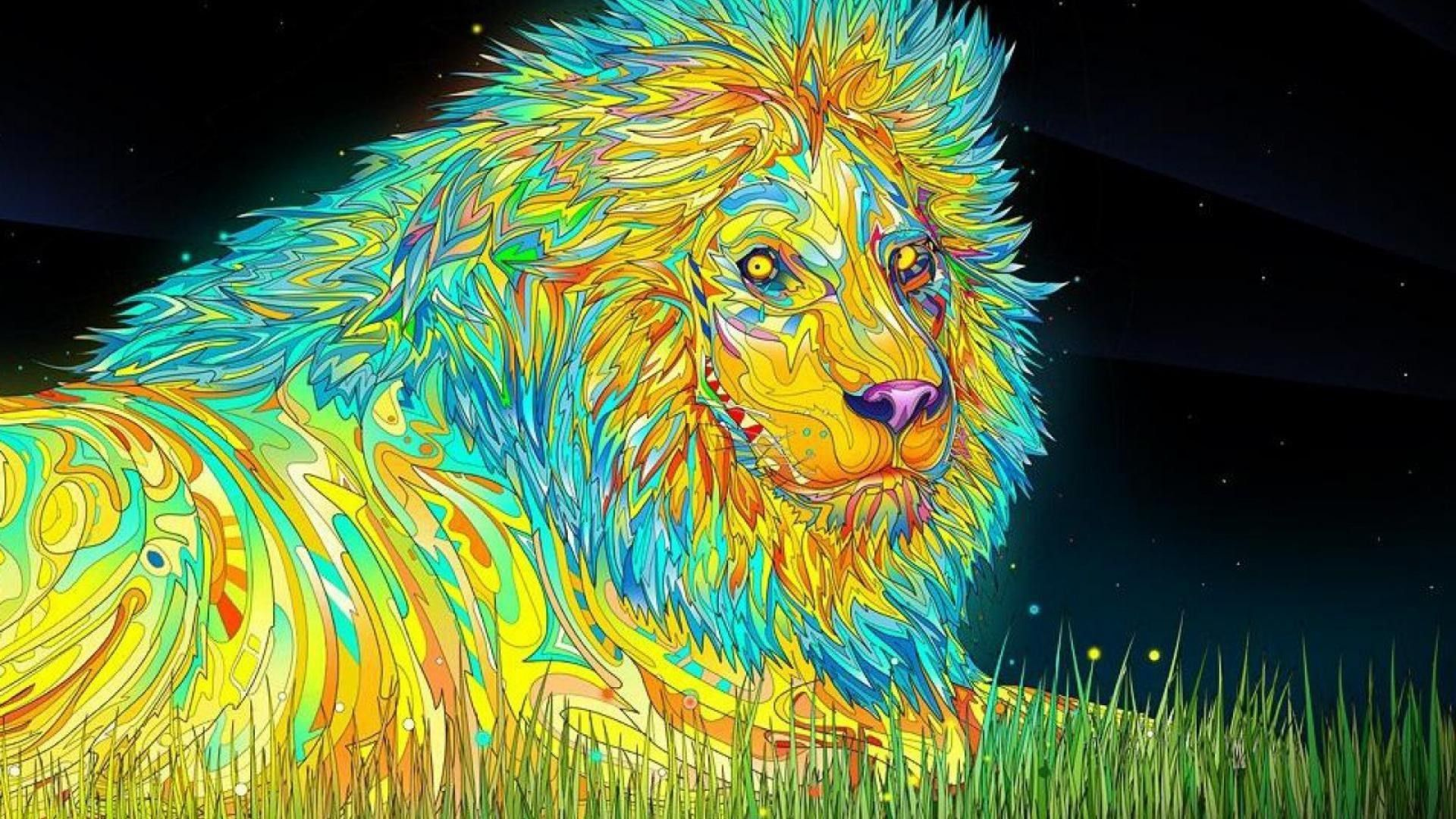 1920x1080 Trippy Wallpapers Full Hd Trippy Wallpaper Trippy Backgrounds Colorful Lion