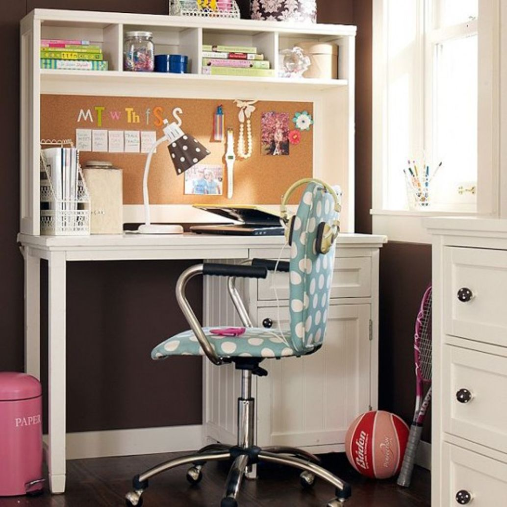 Fancy study desk designs for girls with polka dot chair for Bedroom desk ideas