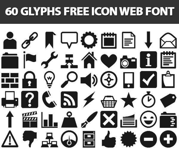 60 glyphs free icon web font  pictograms