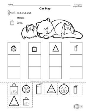 This math worksheet has students sorting shapes of different sizes ...