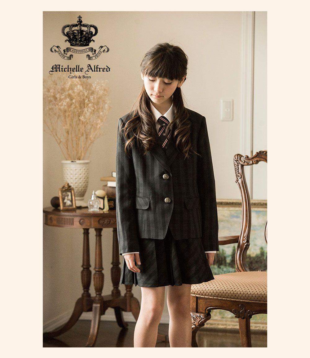 334cfbf6da460 女の子スーツ 黒チェックスーツセット(ジャケット スカート シャツ ネクタイ4点