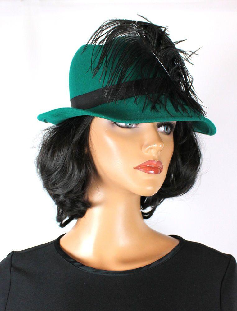 Vintage Wool Hat 7 1 4 L 70s Teal Green Felt Huge Black Ostrich Feather  Fedora bfbebacd2a0