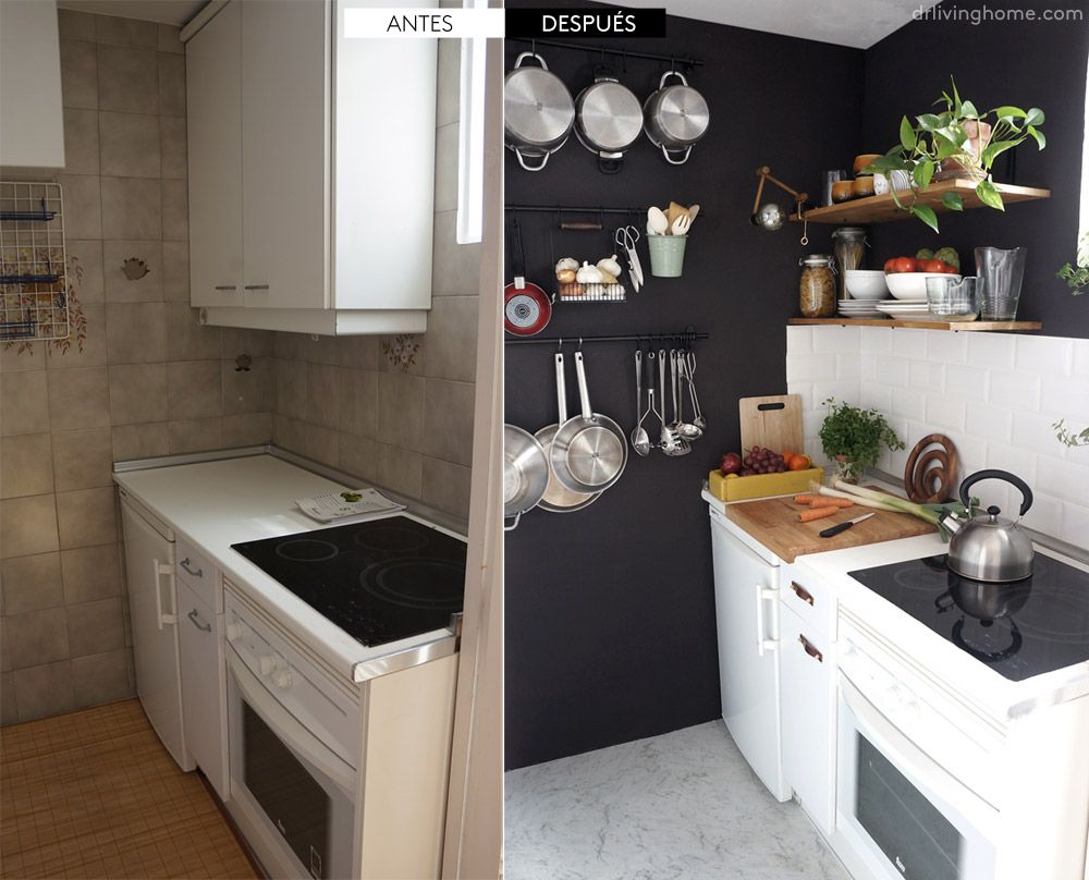 Antes/Después – Una pequeña cocina negra | Decorar tu casa, Cocinas ...