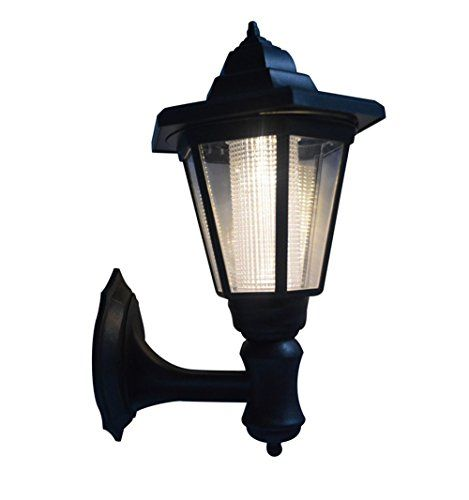 Solar Ed Led Wall Mounted Light Sconce Lantern Lamp Garden Outdoor Hexagonal Battery Needed 2w Warm White Black