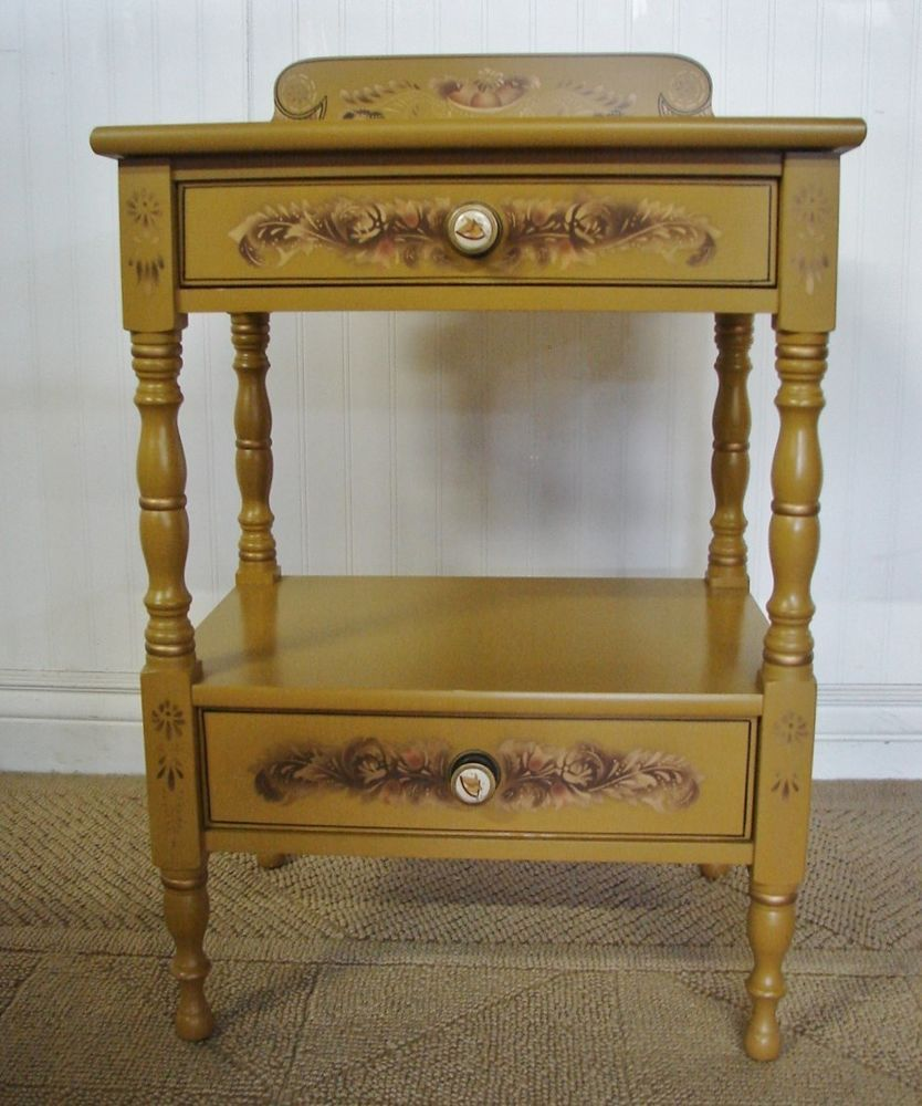 Hitchcock Nightstand, Signed, Stencilled Yellow Two Drawer Maple End Table