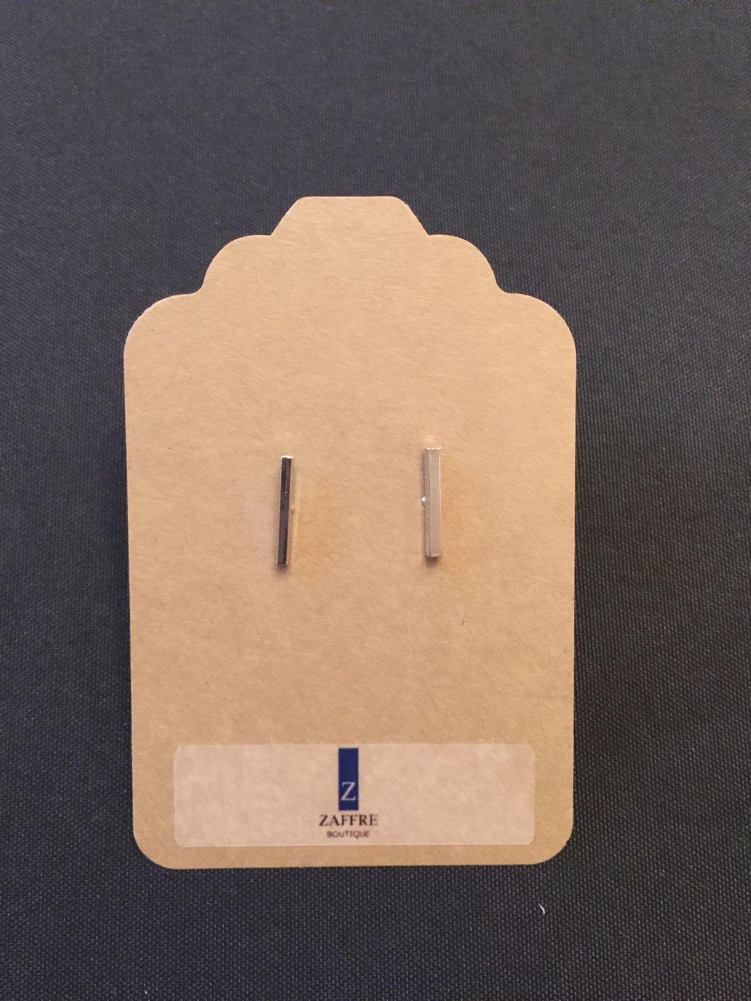 Silver Bar Center Post Stud Earrings