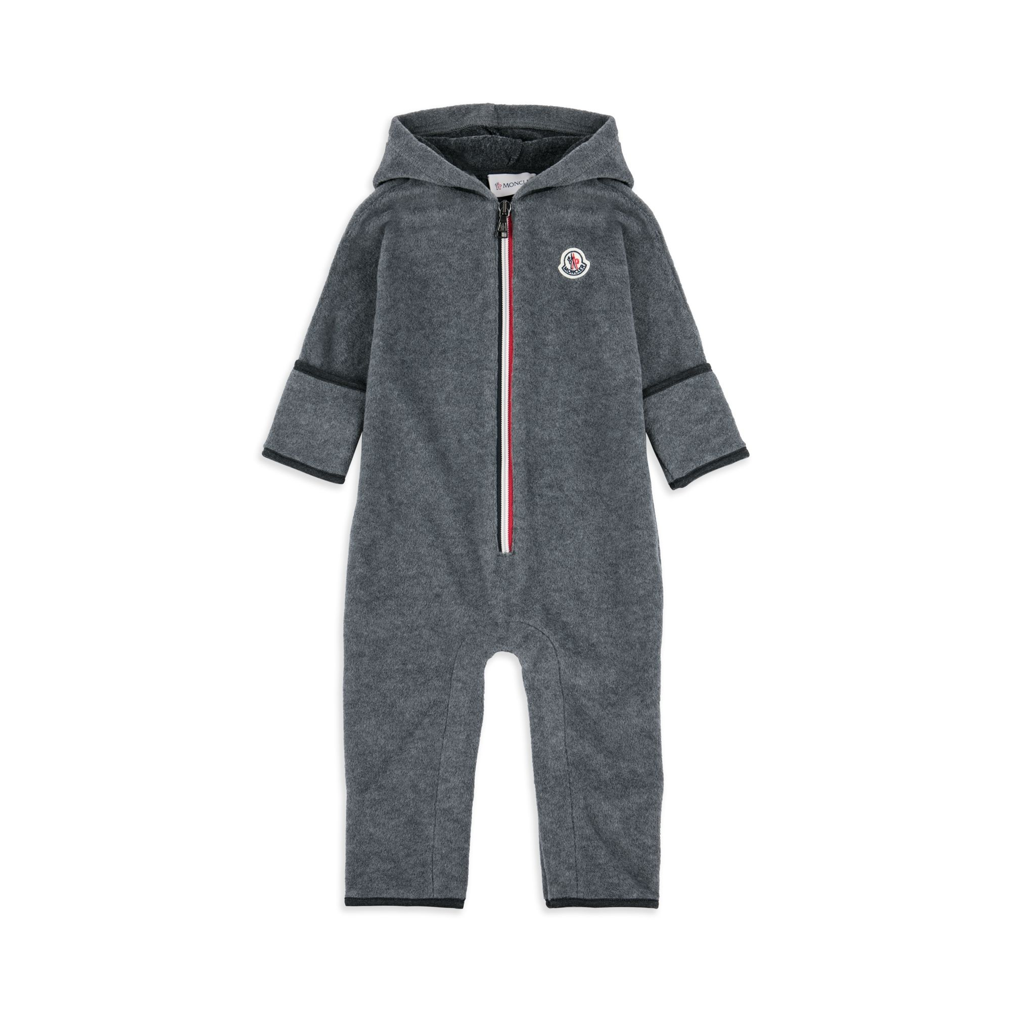 MONCLER Baby Boys Hooded Fleece Babygrow - Grey Baby boys coverall • Soft stretchy fabric •