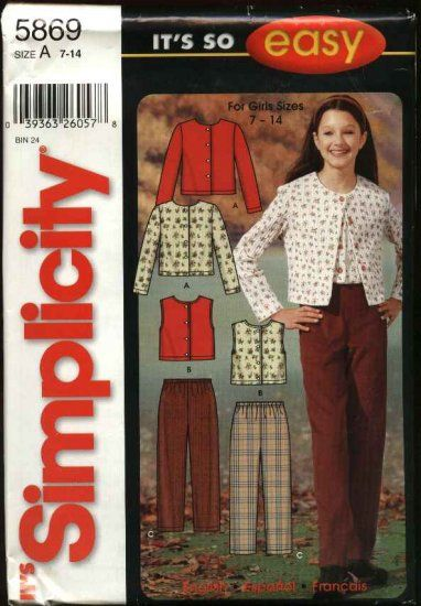Simplicity Sewing Pattern 5869 Girls Size 7-14 Easy Pants Knit Tops ...