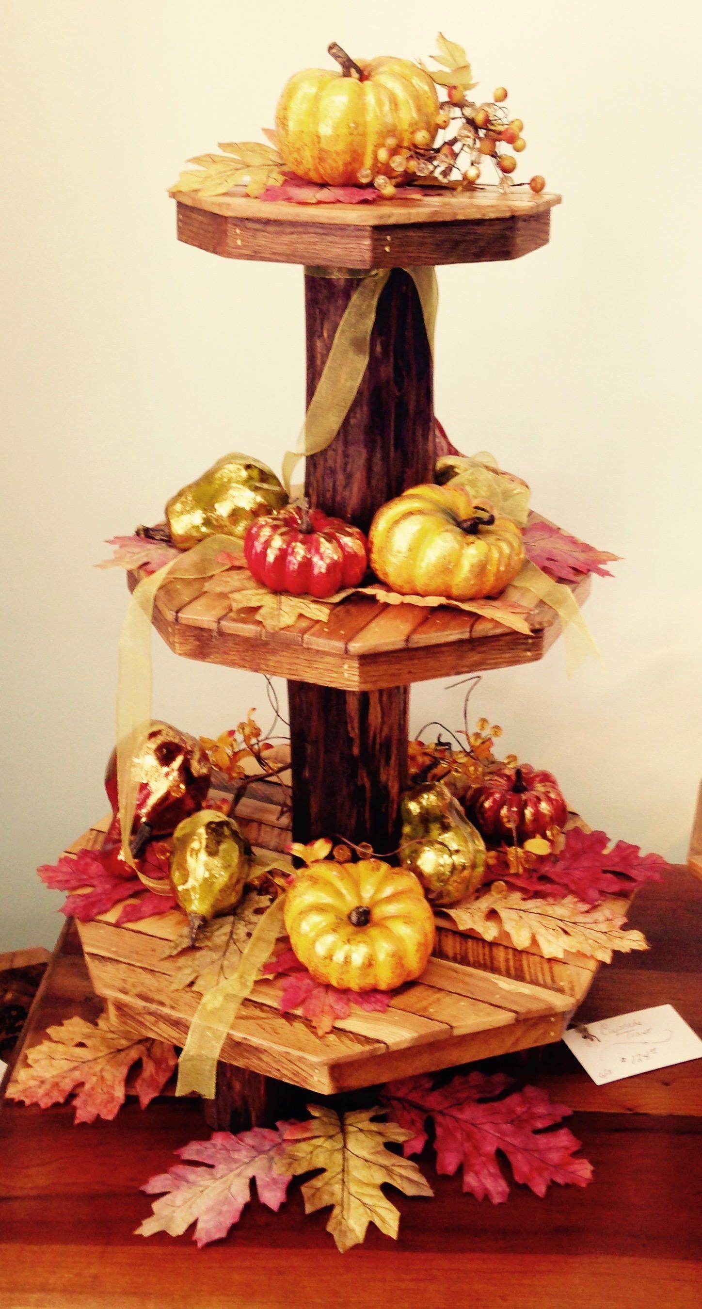 Centerpiece pedestal cupcake stand display solid wood