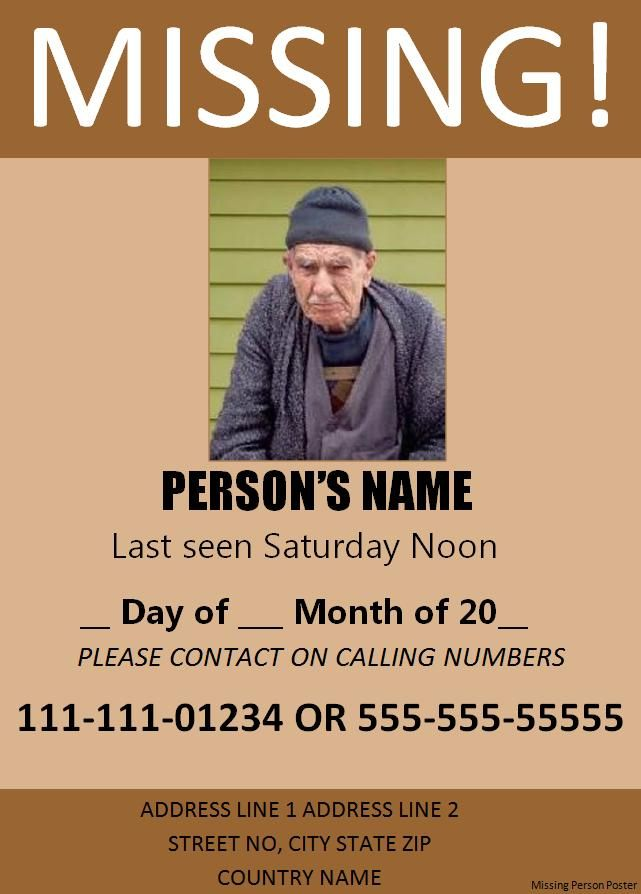 Missing Person Poster Template Free Word\u0027s Templates Missing