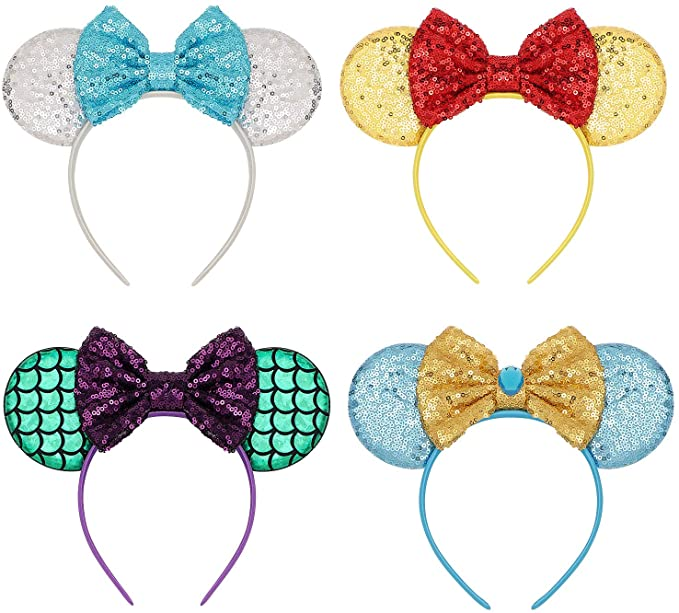 Mouse Ears Bow Headbands Glitter Princess Party Decoration Belle Cinderella Jasmine Mermaid Mouse Ears Headband for Girls
