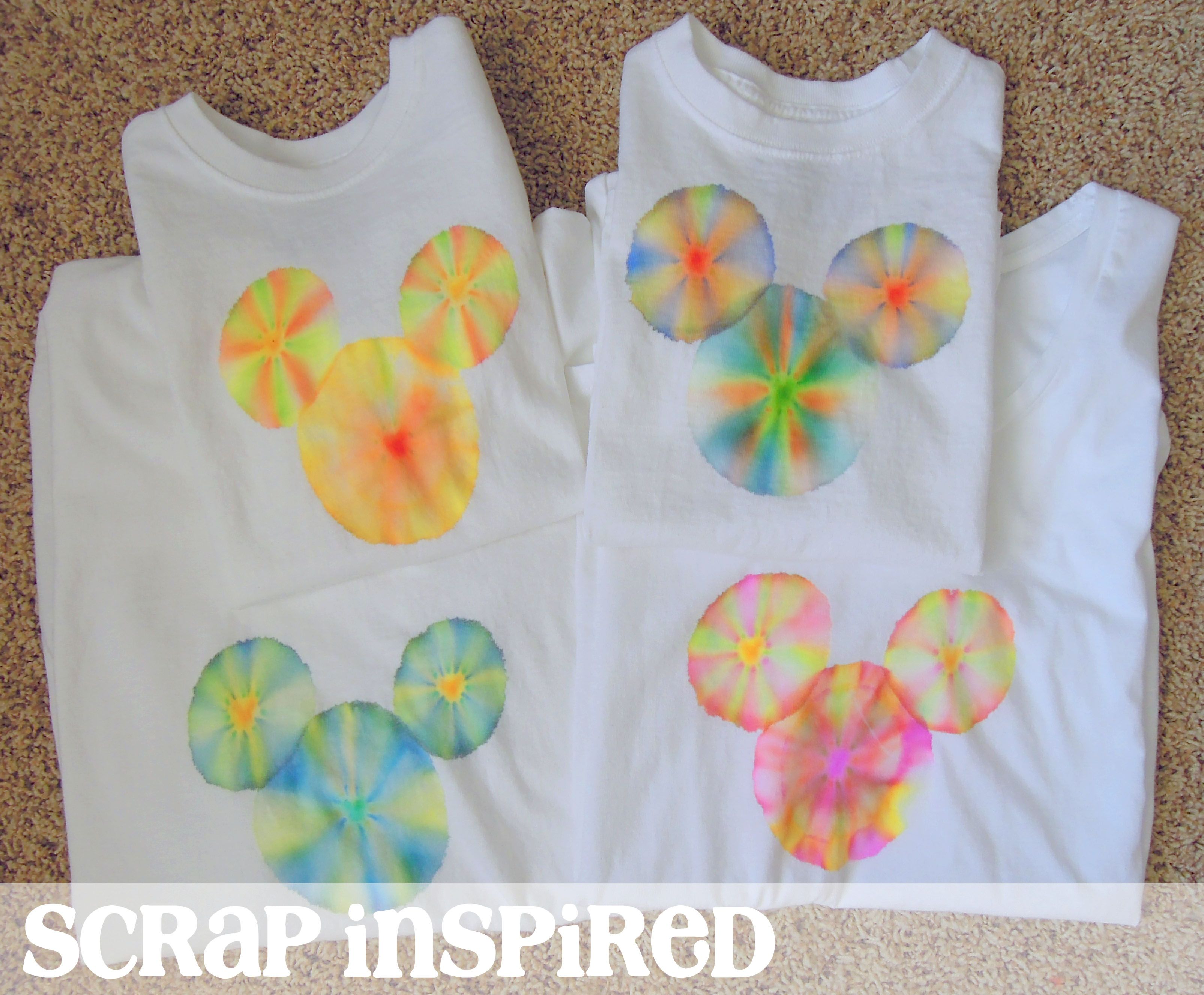 Create a Mickey shirt with sharpie tie dye technique! By Monica at Scrap  Inspired