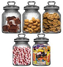Set Of 5 Large Glass Biscuit Sweet Cookie Tea Coffee Sugar Kitchen