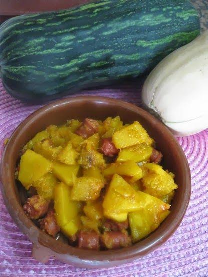recetas de mi cocina: CALABAZA CON LONGANIZA. Reto de Octubre