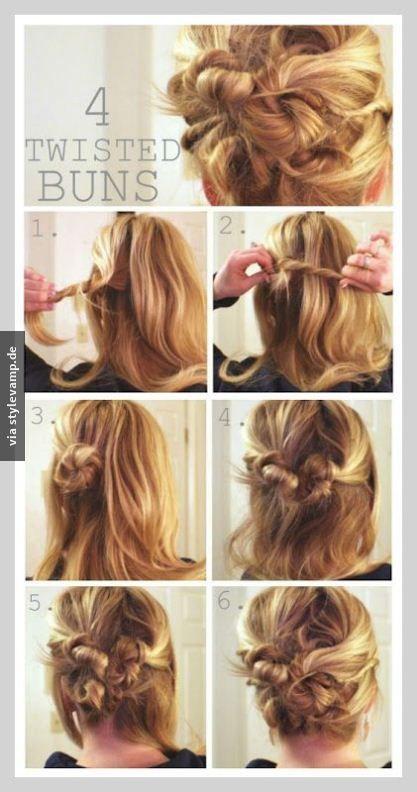 Mini Dutt Mal Vier Frisur Hochgesteckt Lange Haare Hochsteckfrisur