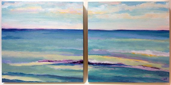 Original Oil Painting - Seascape Diptyck (two 8x8 panels)