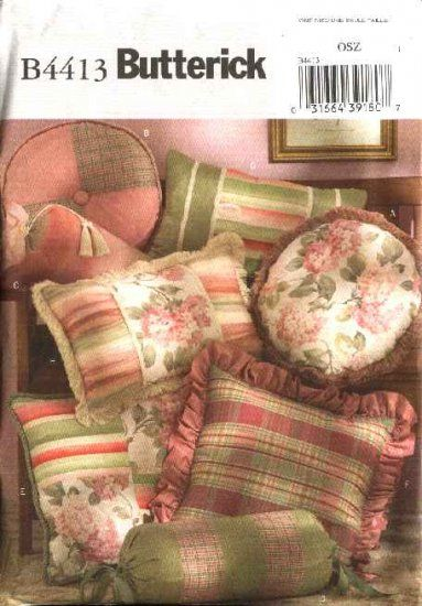 Butterick Sewing Pattern 4413 B4413 Decorator Pillows Cushions Round Square Rectangle Neck Bolster