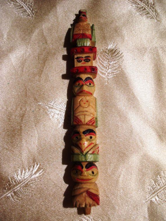 Carved Bone Totem Pole Vintage Souvenir Pacific Northwest Native American Native American Totem Poles Bone Carving Native American Totem
