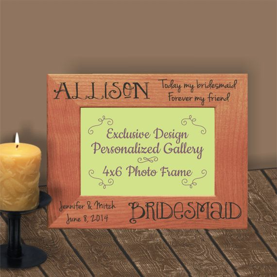 Wedding Attendants Gifts: Personalized Bridesmaid Frame, Maid Of Honor Frame, Wood