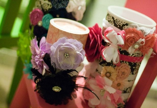Headband Holders made from oatmeal containers.