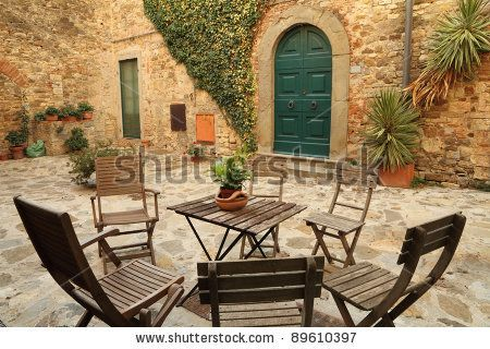 Italian Backyards tuscan style backyards | italian backyard, tuscany stock photo