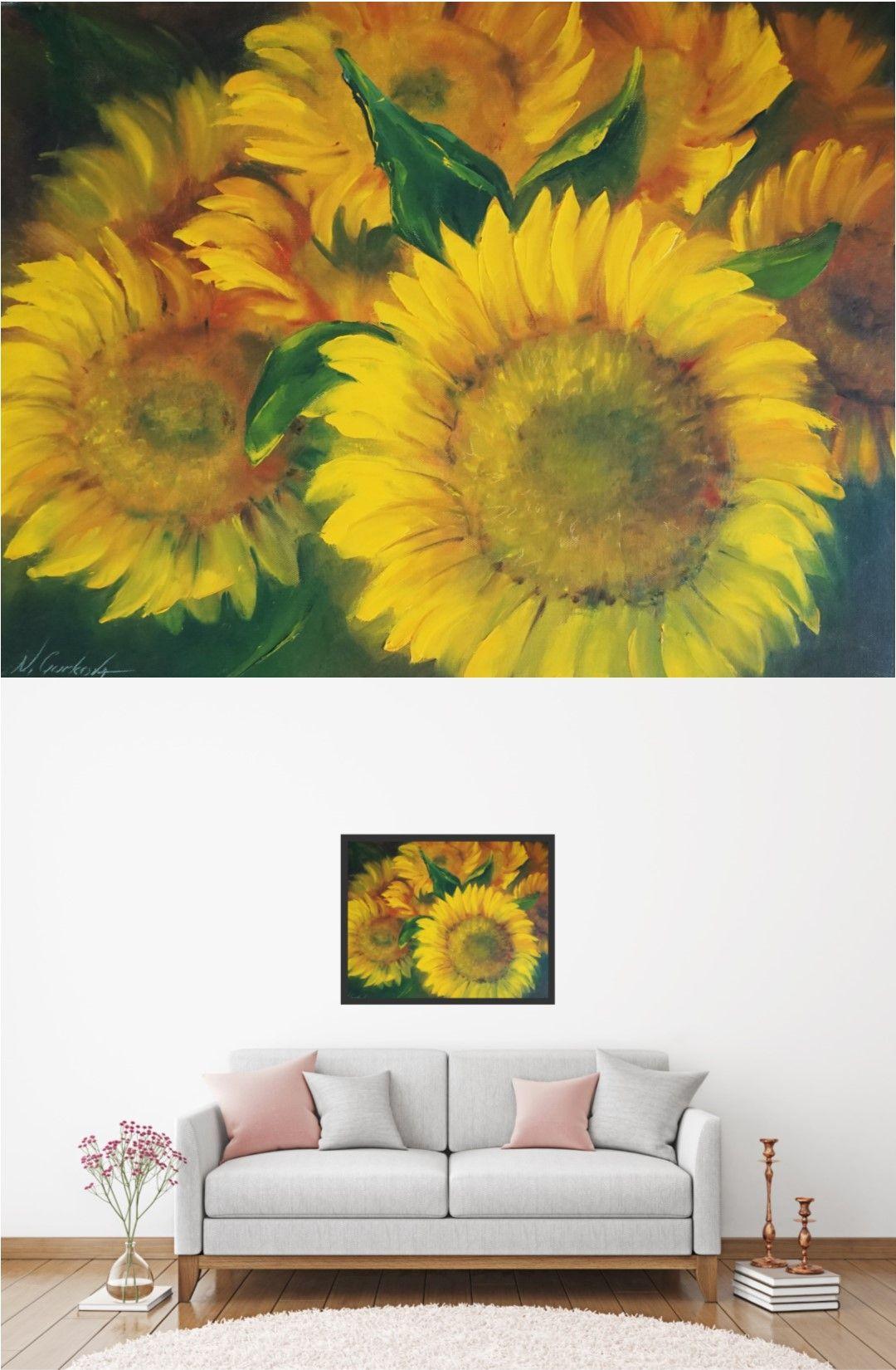 Sunflower Oil Painting Original Horizontal Floral Canvas Artwork