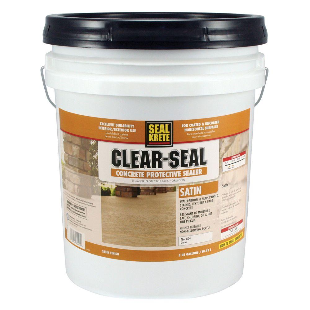 Seal Krete 5 Gal Satin Clear Seal Concrete Protective Sealer 604005 The Home Depot In 2020 Concrete Sealer Concrete Concrete Countertop Sealer
