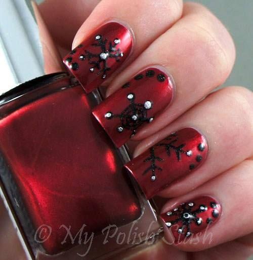Goth Yuletide Nails Deep Red Nails Christmas Nails Cute Nails